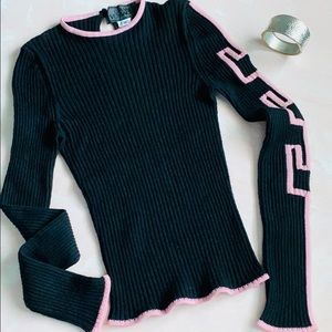 VTG Gianni Versace Black Geometric Sleeve Sweater